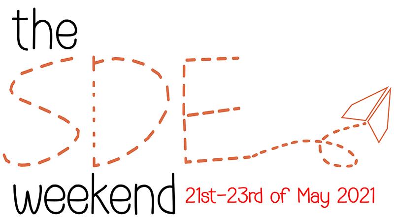 blue orange logo 'SDE Weekend' with paper airplane