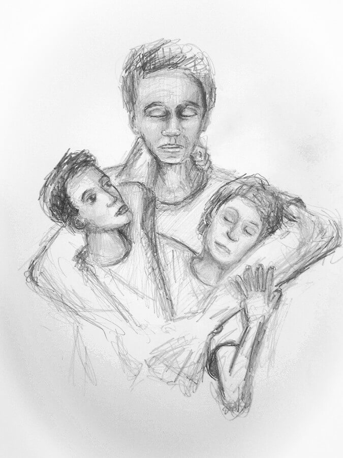 A pencil drawing of a father and two children