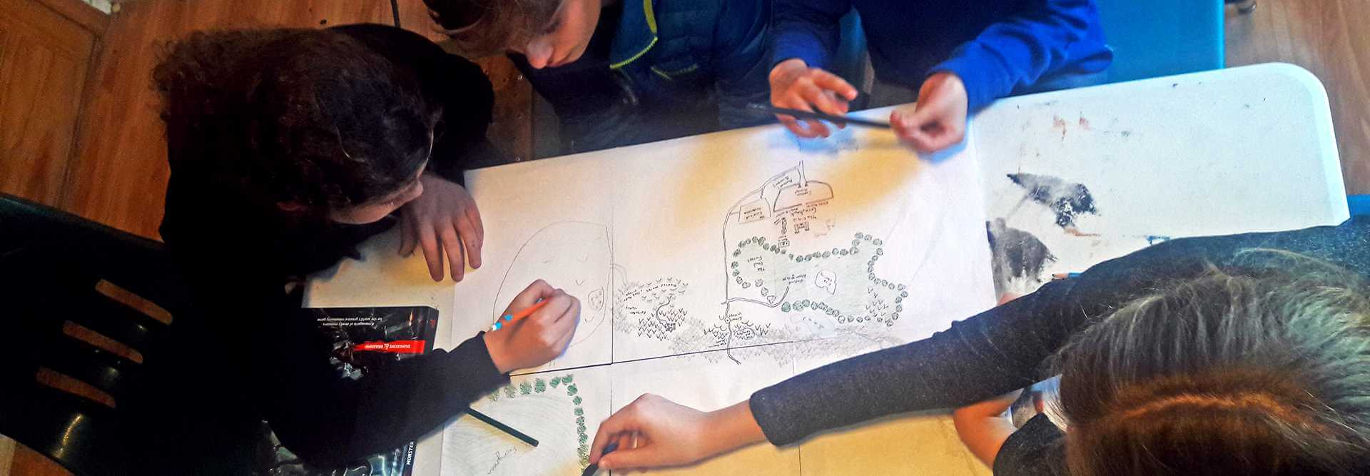 young people drawing