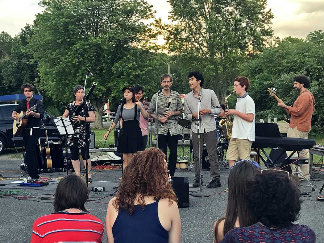 Teens and staff from North Star perform together in their band
