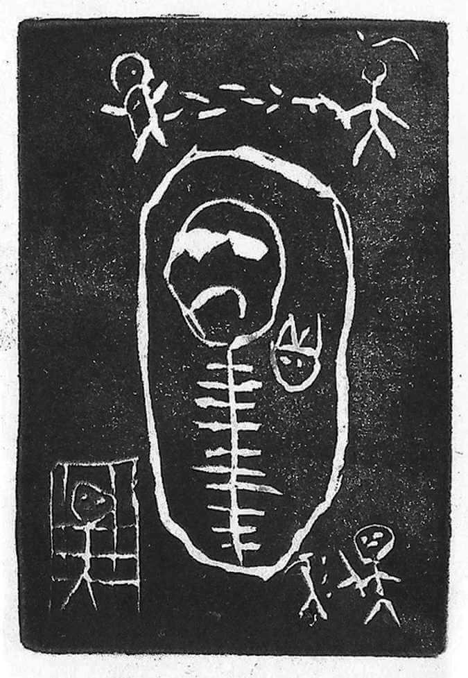 A linoleum print by Mateo, 2018