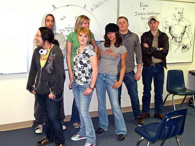 Students posing for the camera