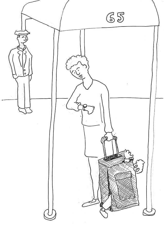 An illustration of a child in someone's luggage