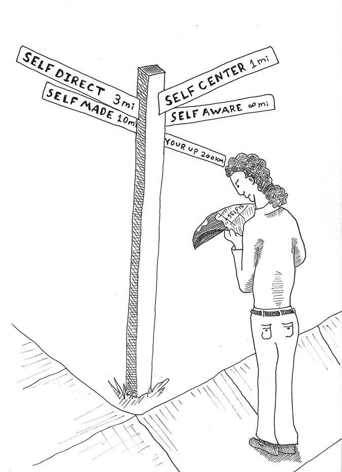 Illustration of a person at a self center / self direct cross road