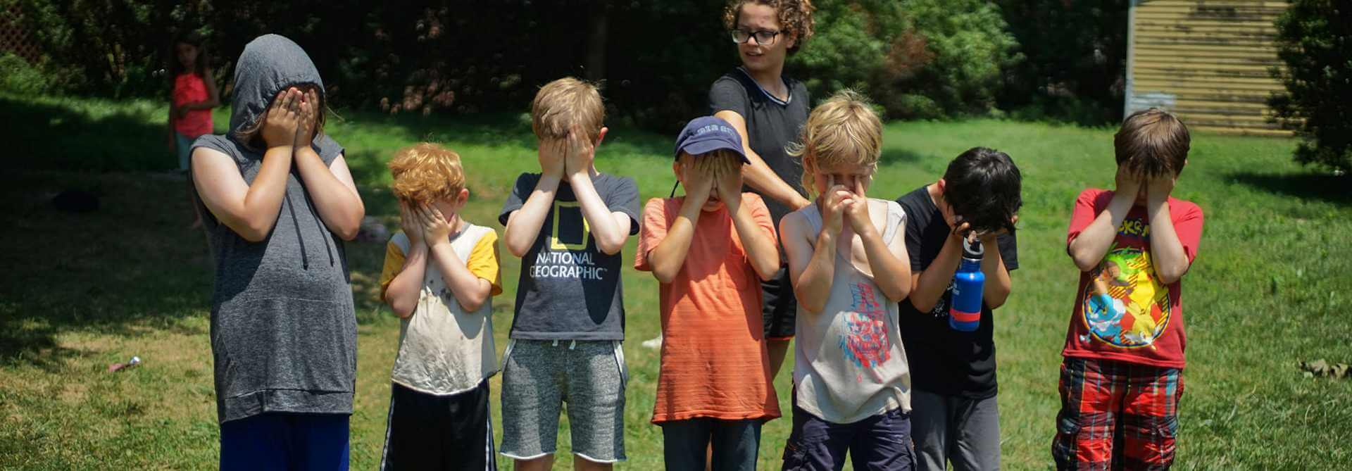 Kids covering their eyes
