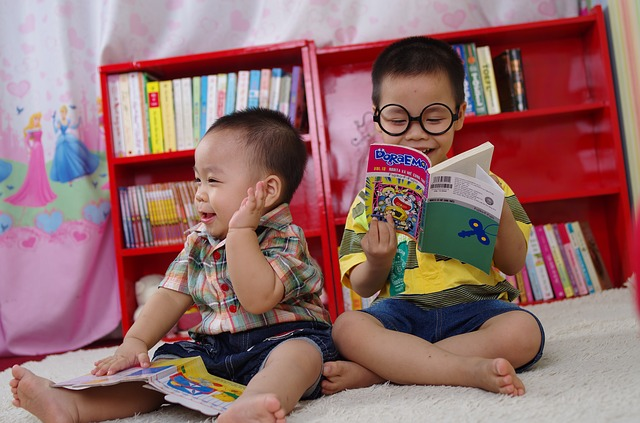Young children exploring books