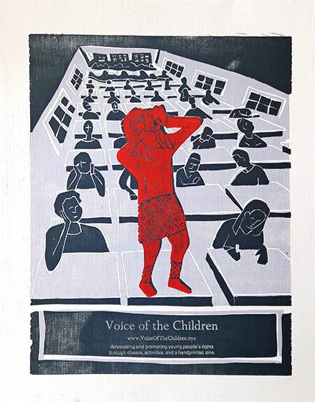 Voice of the Children lino print poster by Alexander Khost, 2017