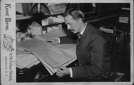 Alexis Ferm working at the New York Times (1895), courtesy of Special Collections and University Archives, Rutgers University Libraries