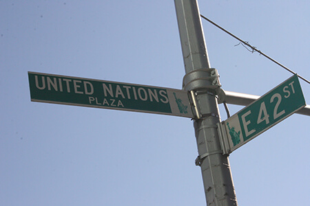 A United Nations street sign